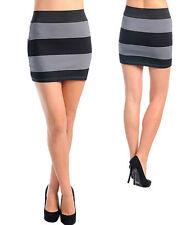 Purple & Gray Stripe Rubber Print Ponte Skirt. Sz  Medium & Large