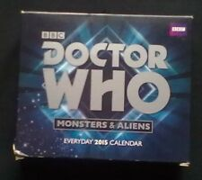 BBC Doctor Who Monsters/Aliens Everyday 2015 Calendar with all 12 Doctors – Mint