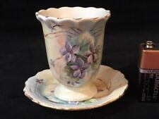 Limoges Miniature Cup and Saucer Purple Flowers Violets M & A #5336