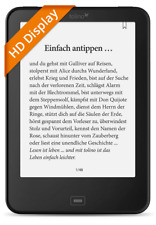 tolino vision 3 HD ebook Reader mit integrierter Beleuchtung und tap2flip