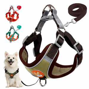 Reflective Dog Harness and Nylon Leash Set No Pull Pet Puppy Soft Vest and Lead