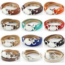 Fashion Monogram Blank Wrap Leather Bracelet Men Women Leather Engraved Bracelet