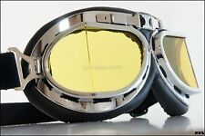Amber lens Goggle motorcycle cafe racer glasses for Open Face helmet