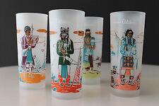 Knox Oil Company 4 Piece Acee Blue Eagle Design Famous Oklahoma Indian Glasses