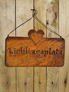Schild Gartendeko Lieblingsplatz Rost Vintage Hängedeko Landhaus Shabby 25cm