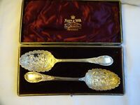Beautiful Vintage Mappin & Webb Silver Plated A1 Ornate Serving Spoons Cased