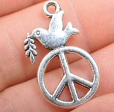 30pcs Tibetan Silver Peace Sign DIY Charms Pendants Making Jewelry 28MM