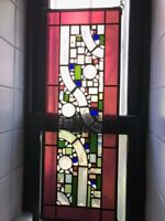 •MODERN Beveled Stained Glass Window Panel, Hanging ,Transom /Sidelight