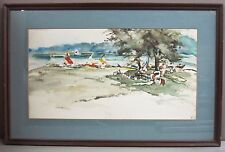 "MARY JOHNSEN__Watercolor__'Summer Pleasures""__28.5""x18.5""__Signed__SHIPS FREE"