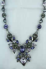 NWT Givenchy Purple Lavendar Gray Rhinestone Bib Statement Necklace 150.00