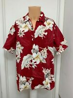 Pacific Legend red Tropical Floral Hawaiian Shirt  Cotton short sleeve l large