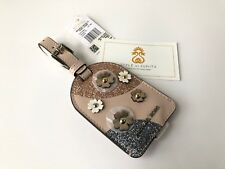 Michael Kors Leather Luggage ID Tag Handbag purse bag charm Soft Pink flowers