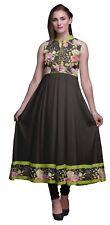 Bimba negro damasco kurtis indio para mujer vestido de anarkali-JDE