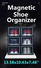 Magnetic Shoes Box Drop-Front High Stackable Sneaker Container Large Storage