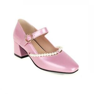 Women 44/48 Square Toe Lolita Block Heel Ankle Strap Wedding Mary Janes Shoes D