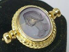 Intaglio natural Ametist Ancient Silver 925- Ring-Vintage-Antique ROMAN-RARE