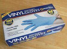 100 Marksman Powder Free Latex Free Blue Vinyl Disposable Gloves - Size M (BNIB)