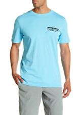 NWT Volcom Men's M Short Sleeve Tee T-Shirt Aqua Blue Fracture Organic Cotton