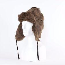 """True Vintage Fur Trampero Invierno Sombrero OREJA SOLAPAS de Estilo Aviador Grande 58cm 23"""""""