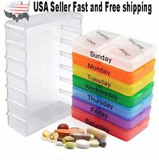 7 Day Weekly Pill Organizer Case Portable Color Coded Container Medicine Holder
