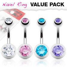 4pc Value Pack Double Gem 316L Surgical Steel Belly Ring Pierced Navel Naval