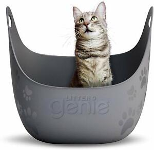 Litter Genie Cat Litter Box With High Walls Flexible Plastic For Small Space NEW