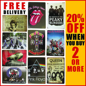 Retro Pink Floyd Bowie Peaky Blinders Queen Classic Wall Art Tin Plaque Sign