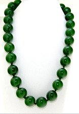 Rare 16mm Necklace drak Green Jade Round Gemstone Beads Knotted 18""