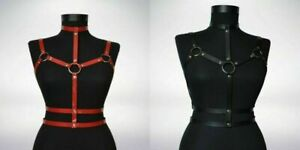 Women's PU Leather Goth Cage Bra Bodysuits Body Chest Harness Roleplay Costumes