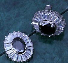 1.6cm Oval Black Onyx & CZ Baguettes Silver Drop Earrings