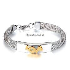 Womens Stainless Steel 10mm Mesh Bracelet Golden Tone Love Wristband Silver Tone