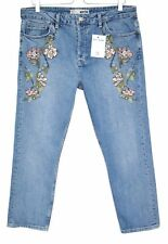 Topshop STRAIGHT LEG GIRLFRIEND High Rise Blue EMBROIDERED Jeans Size 16 W34 L30
