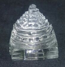 Hand Carved Natural Crystal Shree Yantra 140 Carat Good Luck Prosperity 286