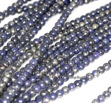 """4MM PURPLE IRON PYRITE INCLUSIONS GEMSTONE GRADE A ROUND 4MM LOOSE BEADS 15.5"""""""