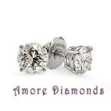 1.42 ct G SI1 round ideal natural diamond 4 prong stud earrings 18k white gold
