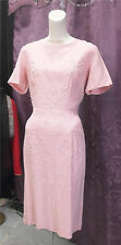 50s& Early 60s Pink Linen Dress w/ cording and rhinestones Cocktail Party VLV sz