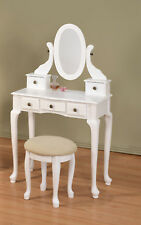 Beautiful Cottage Design Vanity Makeup Table with Stool Set - White