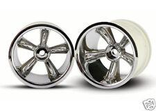"Traxxas Chrome Pro-Star 2.2"" Rear Rims for Nitro Rustler # 4172 with 12mm Hex"