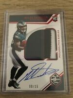 MILES SANDERS RC 2019 Panini Limited 4-Color Patch On Card Auto 9/15 RPA Eagles