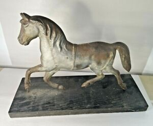 """Antique or Vintage Tin Horse Weathervane on Wooden Display Stand, 14 1/2"""""""