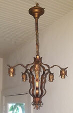Antique 1920's Wrought Iron Floral Tole 5 Arm Chandelier, Gold Polychrome Finish