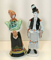 """Hollohaza, Hungary - Pair of Man and Woman Hand Painted 12"""" Porcelain Figurines"""