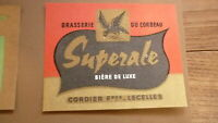 OLD 1950s FRENCH BEER LABEL, BRASSERIE DU CORBEAU LECELLES FRANCE, SUPEZALE