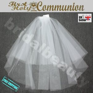 White Ivory First 1st Holy Communion Veil with Diamante Crystals Baptism Girl