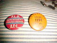 Vintage Lot of 2 UNION PINBACK Buttons A.F.L LOCAL 1191 PERMIT & F L U DEPT