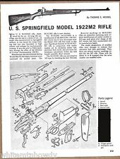 U.S. Springfield 1922M2 RIFLE Exploded View..Parts List..Assembly Article**