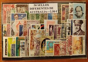 LOTE DE 50 SELLOS DIFERENTES USADOS DE AUSTRALIA