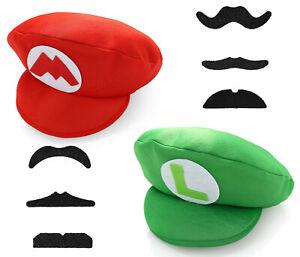 Super Mario Bros Luigi Foam Hat Cap and Moustaches Fancy Dress Costume Party