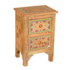 Orientalische Handbemalte Kommode Indian Style Nachttisch aus Mangoholz Jivan