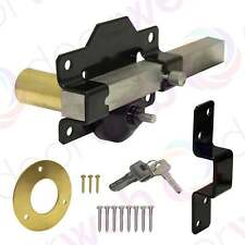 Garden GATE LOCK Driveway Gates Single Long Throw Bolt Security 50mm + Keys